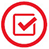 Checkbox icon - red on white