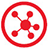 Network map icon - red on white